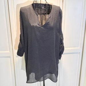 Fever Black Tunic V Neck Asymmetric Hem
